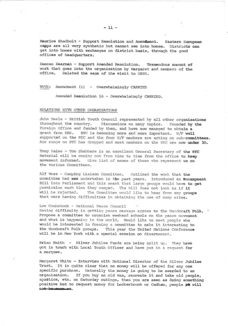 Minutes, Annual Delegate Conference, Loughborough, Transcriptions